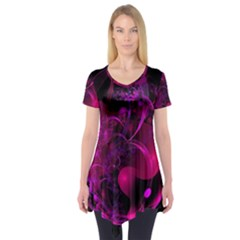 Fractal Using A Script And Coloured In Pink And A Touch Of Blue Short Sleeve Tunic