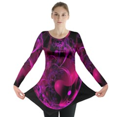 Fractal Using A Script And Coloured In Pink And A Touch Of Blue Long Sleeve Tunic