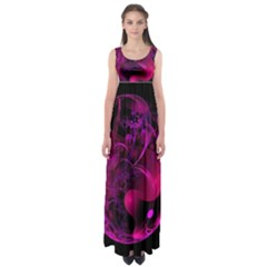 Fractal Using A Script And Coloured In Pink And A Touch Of Blue Empire Waist Maxi Dress
