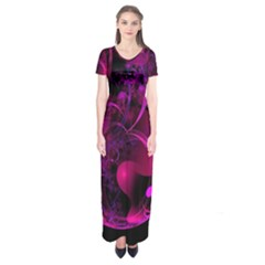 Fractal Using A Script And Coloured In Pink And A Touch Of Blue Short Sleeve Maxi Dress