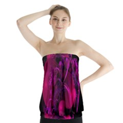 Fractal Using A Script And Coloured In Pink And A Touch Of Blue Strapless Top