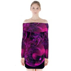 Fractal Using A Script And Coloured In Pink And A Touch Of Blue Long Sleeve Off Shoulder Dress