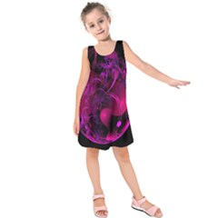 Fractal Using A Script And Coloured In Pink And A Touch Of Blue Kids  Sleeveless Dress