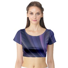 A Pruple Sweeping Fractal Pattern Short Sleeve Crop Top (Tight Fit)