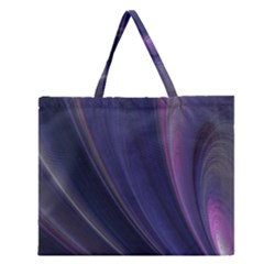 A Pruple Sweeping Fractal Pattern Zipper Large Tote Bag
