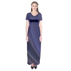 A Pruple Sweeping Fractal Pattern Short Sleeve Maxi Dress