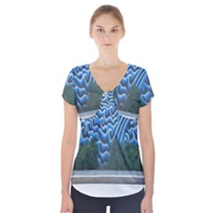 Mural Wall Located Street Georgia Usa Short Sleeve Front Detail Top