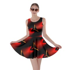 Fractal Background Red And Black Skater Dress