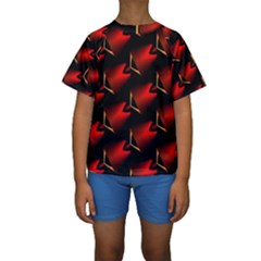 Fractal Background Red And Black Kids  Short Sleeve Swimwear