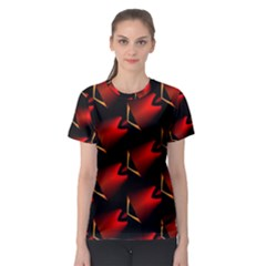 Fractal Background Red And Black Women s Sport Mesh Tee