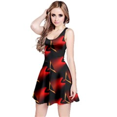 Fractal Background Red And Black Reversible Sleeveless Dress