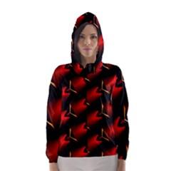 Fractal Background Red And Black Hooded Wind Breaker (women)