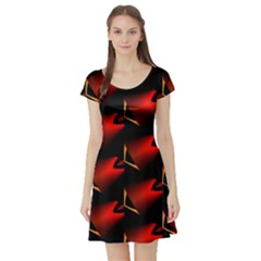 Fractal Background Red And Black Short Sleeve Skater Dress