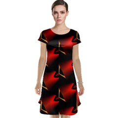 Fractal Background Red And Black Cap Sleeve Nightdress