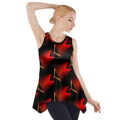 Fractal Background Red And Black Side Drop Tank Tunic