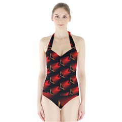 Fractal Background Red And Black Halter Swimsuit