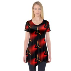 Fractal Background Red And Black Short Sleeve Tunic
