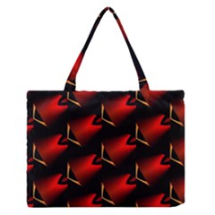 Fractal Background Red And Black Medium Zipper Tote Bag