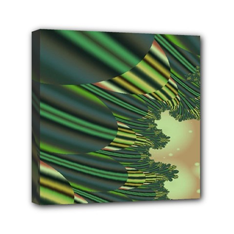 A Feathery Sort Of Green Image Shades Of Green And Cream Fractal Mini Canvas 6  x 6
