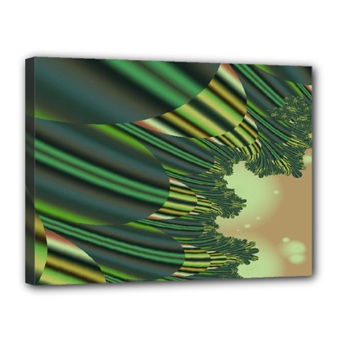 A Feathery Sort Of Green Image Shades Of Green And Cream Fractal Canvas 16  X 12