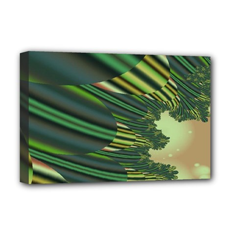 A Feathery Sort Of Green Image Shades Of Green And Cream Fractal Deluxe Canvas 18  X 12