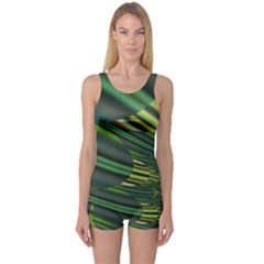 A Feathery Sort Of Green Image Shades Of Green And Cream Fractal One Piece Boyleg Swimsuit