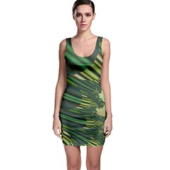 A Feathery Sort Of Green Image Shades Of Green And Cream Fractal Sleeveless Bodycon Dress