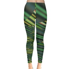A Feathery Sort Of Green Image Shades Of Green And Cream Fractal Leggings
