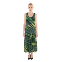 A Feathery Sort Of Green Image Shades Of Green And Cream Fractal Sleeveless Maxi Dress