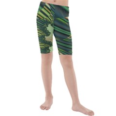 A Feathery Sort Of Green Image Shades Of Green And Cream Fractal Kids  Mid Length Swim Shorts