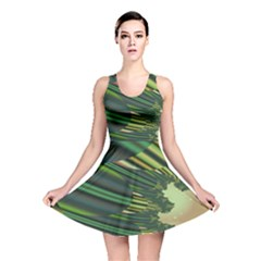 A Feathery Sort Of Green Image Shades Of Green And Cream Fractal Reversible Skater Dress