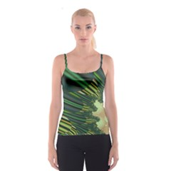 A Feathery Sort Of Green Image Shades Of Green And Cream Fractal Spaghetti Strap Top