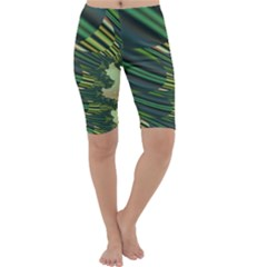 A Feathery Sort Of Green Image Shades Of Green And Cream Fractal Cropped Leggings