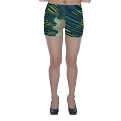 A Feathery Sort Of Green Image Shades Of Green And Cream Fractal Skinny Shorts