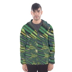 A Feathery Sort Of Green Image Shades Of Green And Cream Fractal Hooded Wind Breaker (Men)