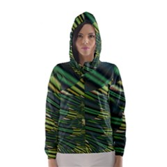 A Feathery Sort Of Green Image Shades Of Green And Cream Fractal Hooded Wind Breaker (Women)