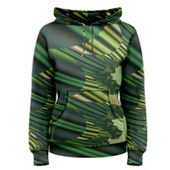 A Feathery Sort Of Green Image Shades Of Green And Cream Fractal Women s Pullover Hoodie