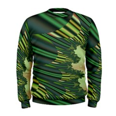 A Feathery Sort Of Green Image Shades Of Green And Cream Fractal Men s Sweatshirt