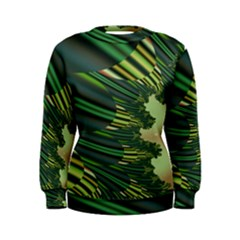 A Feathery Sort Of Green Image Shades Of Green And Cream Fractal Women s Sweatshirt