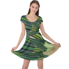 A Feathery Sort Of Green Image Shades Of Green And Cream Fractal Cap Sleeve Dresses