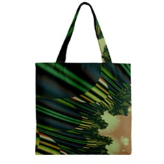 A Feathery Sort Of Green Image Shades Of Green And Cream Fractal Zipper Grocery Tote Bag