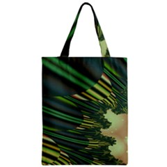 A Feathery Sort Of Green Image Shades Of Green And Cream Fractal Zipper Classic Tote Bag