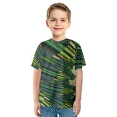 A Feathery Sort Of Green Image Shades Of Green And Cream Fractal Kids  Sport Mesh Tee