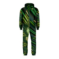 A Feathery Sort Of Green Image Shades Of Green And Cream Fractal Hooded Jumpsuit (kids)