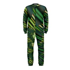 A Feathery Sort Of Green Image Shades Of Green And Cream Fractal OnePiece Jumpsuit (Kids)