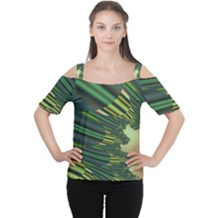 A Feathery Sort Of Green Image Shades Of Green And Cream Fractal Women s Cutout Shoulder Tee