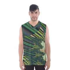 A Feathery Sort Of Green Image Shades Of Green And Cream Fractal Men s Basketball Tank Top