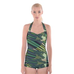 A Feathery Sort Of Green Image Shades Of Green And Cream Fractal Boyleg Halter Swimsuit