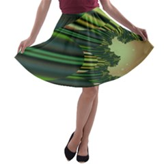 A Feathery Sort Of Green Image Shades Of Green And Cream Fractal A Line Skater Skirt