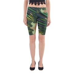 A Feathery Sort Of Green Image Shades Of Green And Cream Fractal Yoga Cropped Leggings